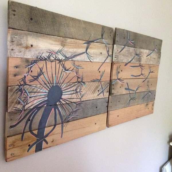 Dandelion Wall Art Color Version Pallet Art21x21 2