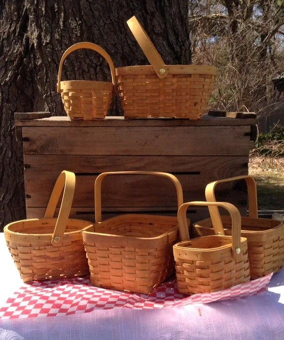 Picnic Baskets to make table centerpieces assorted set of 6