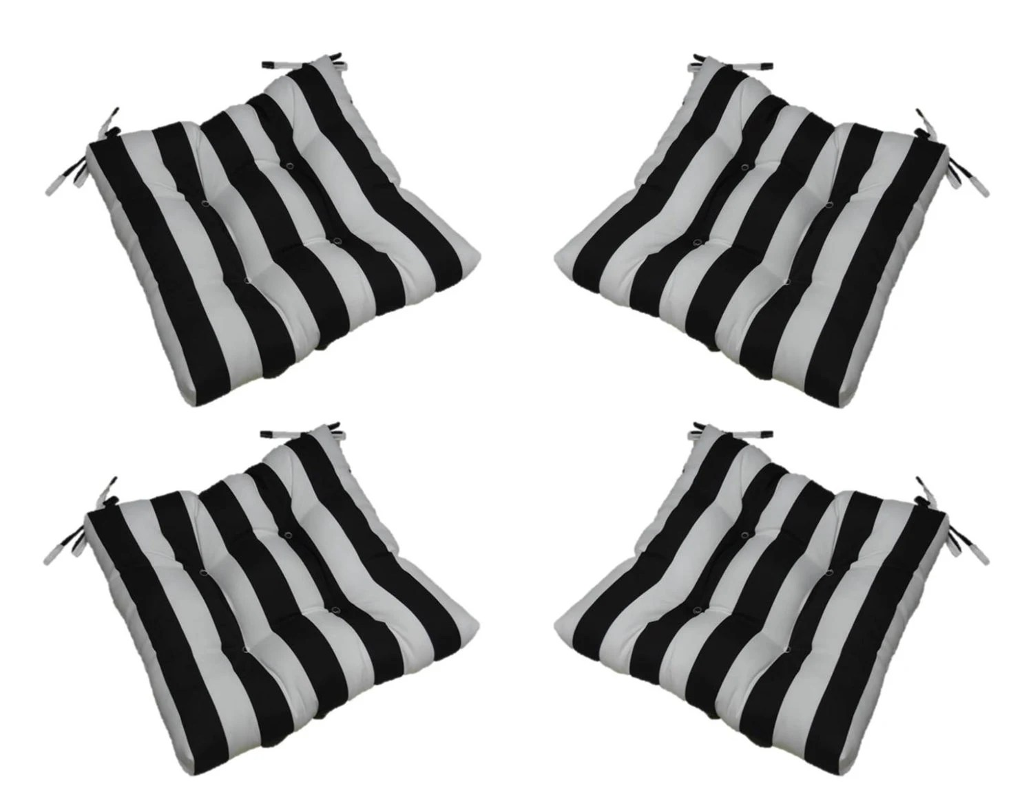 Set Of 4 Indoor / Outdoor Black And White Stripe Universal