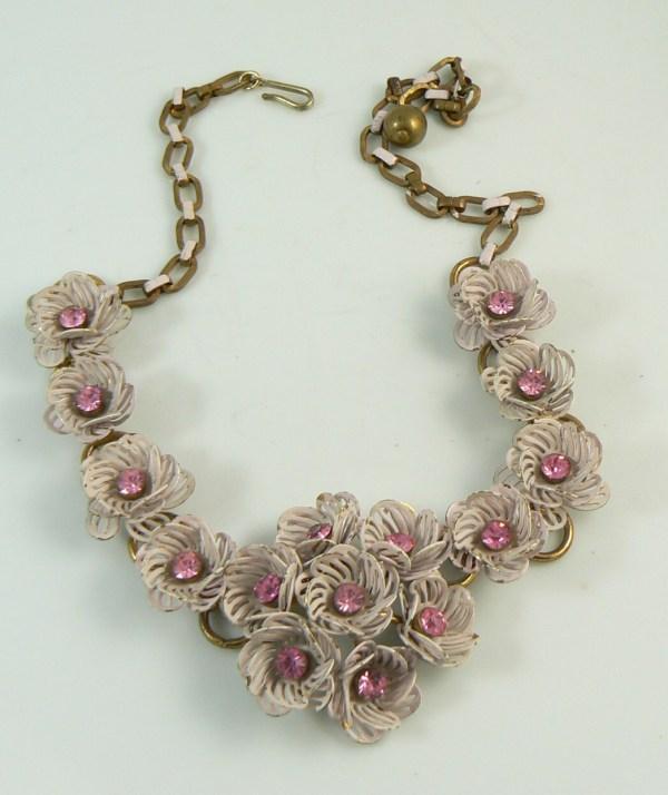 Vintage Coro Pink Enamel Filigree Flower Rhinestone Necklace