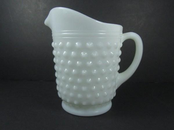 Milk Glass Pitcher Hobnail Farmhouse Kitchenmid Century