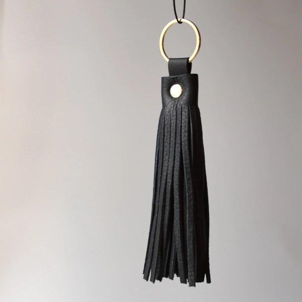 Black & Gold Leather Tassel Keychain Noirnblack