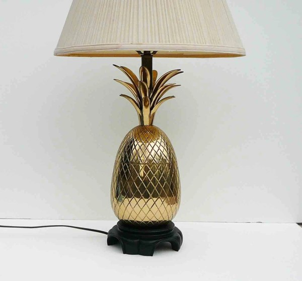 Vintage Large Brass Pineapple Lamp Hollywood Regency Mid