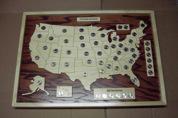 State Quarter Coin Map Holder With 56 Uncirculated Coins