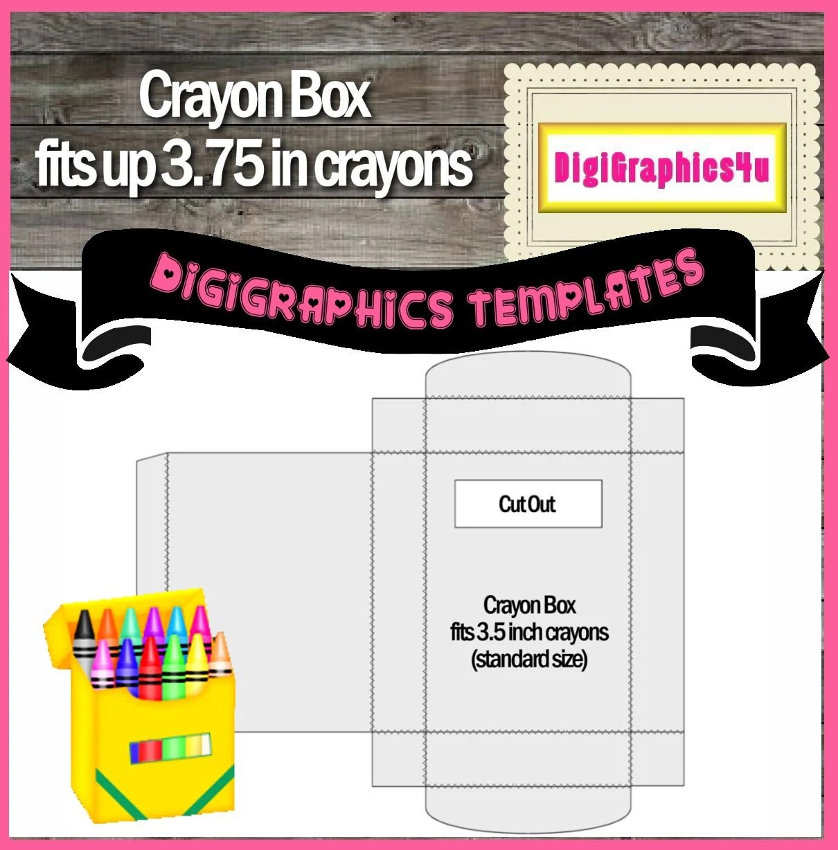 Crayon box template instant download png format digital for Crayon labels template