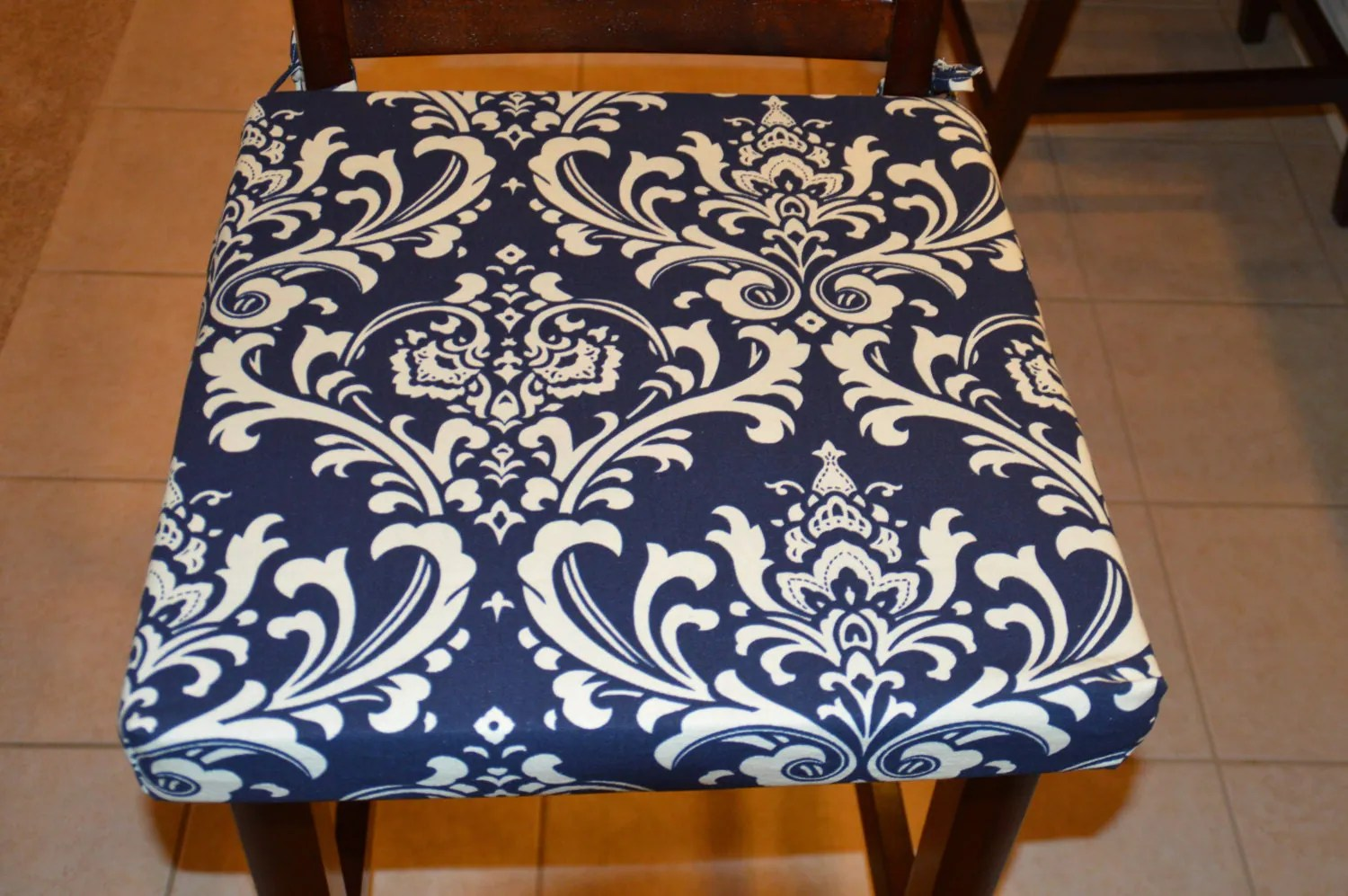 chair covers material brown leather wingback navy blue with cream twill fabric cushion cover