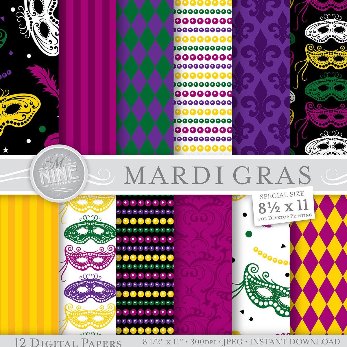 Mardi Gras Digital Paper Mardi Gras Printable Pattern Print