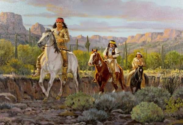 Western Artist Ron Stewart Oil Painting Evening