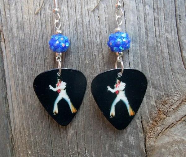 Las Vegas Elvis Guitar Pick Earrings With Blue Rhinestone
