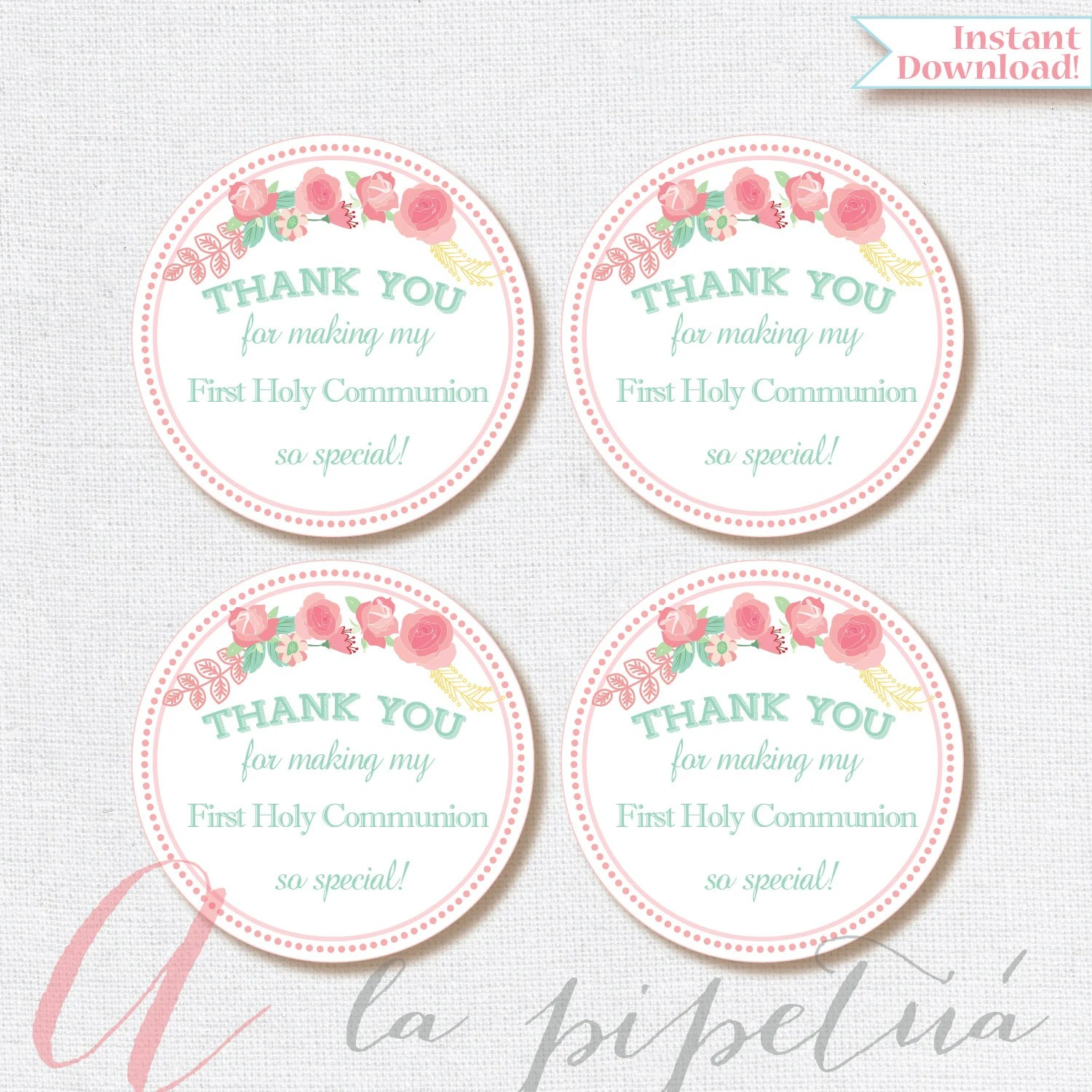 Thank You Favor Tags First Communion Tags Printable Diy Thank You Tags First Holy Communion