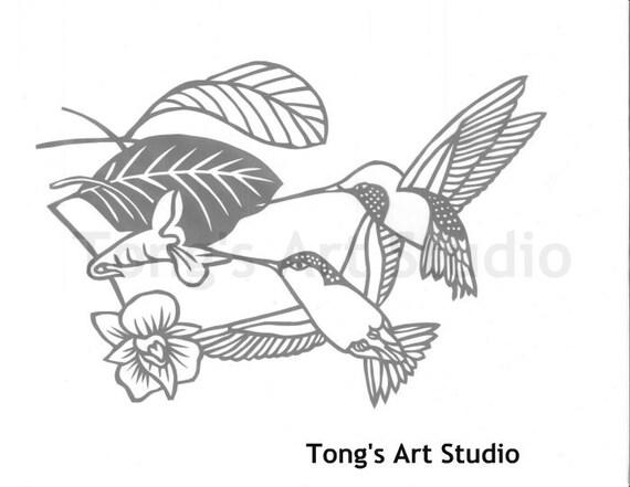 Love Hummingbirds Paper Cut Pattern Cutting Patterns Cut