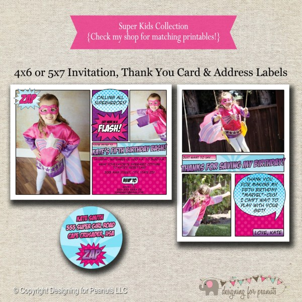 Superhero Invitation Card Return Address Labels
