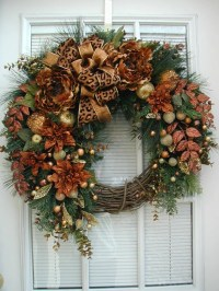 Winter Wreath After Christmas Wreath Large Spray Brown Copper