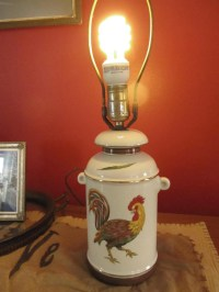 Vintage Ceramic Milk Jug Shaped Rooster Lamp Base