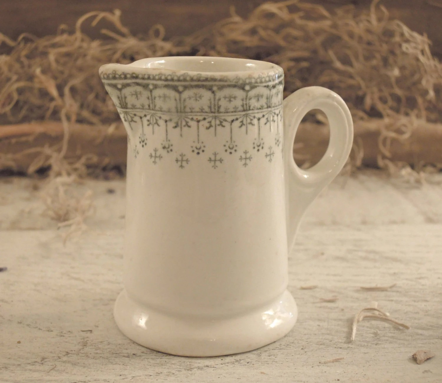 Vintage / Antique Transferware Pitcher / Small Bud Vase