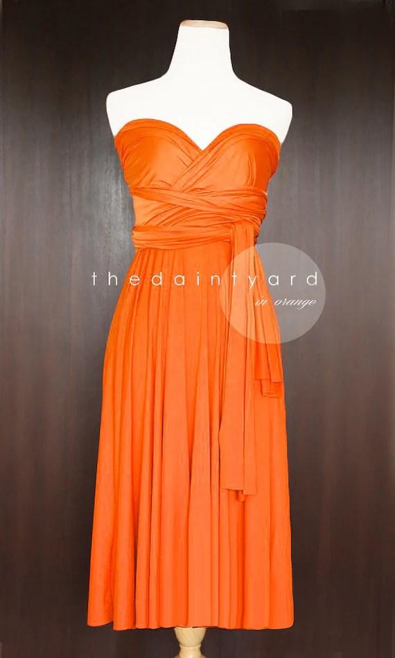 Short Straight Hem Orange Bridesmaid Dress by thedaintyard