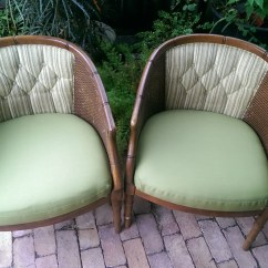 Bamboo Cane Back Chairs Steelcase Pollock Chair Pair Of Palm Beach Regency Faux