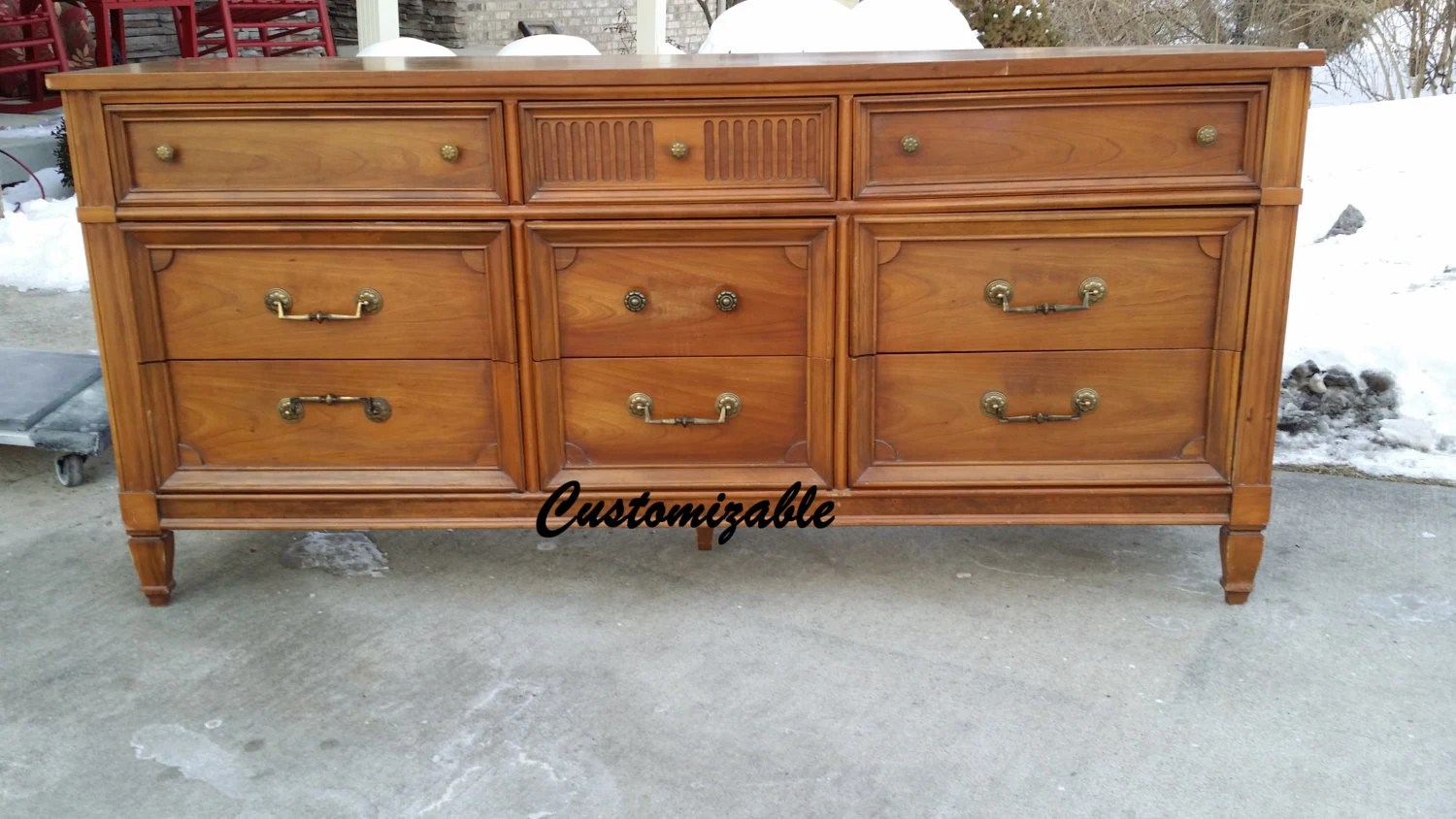 Style Media Console Credenza Buffet Sideboard Dresser Haute Juice. Full resolution  portrait, nominally Width 1500 Height 844 pixels, portrait with #7E4728.
