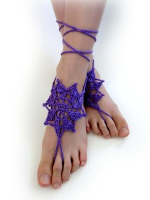Lace Barefoot Sandals. Purple 27 Colors. Openwork
