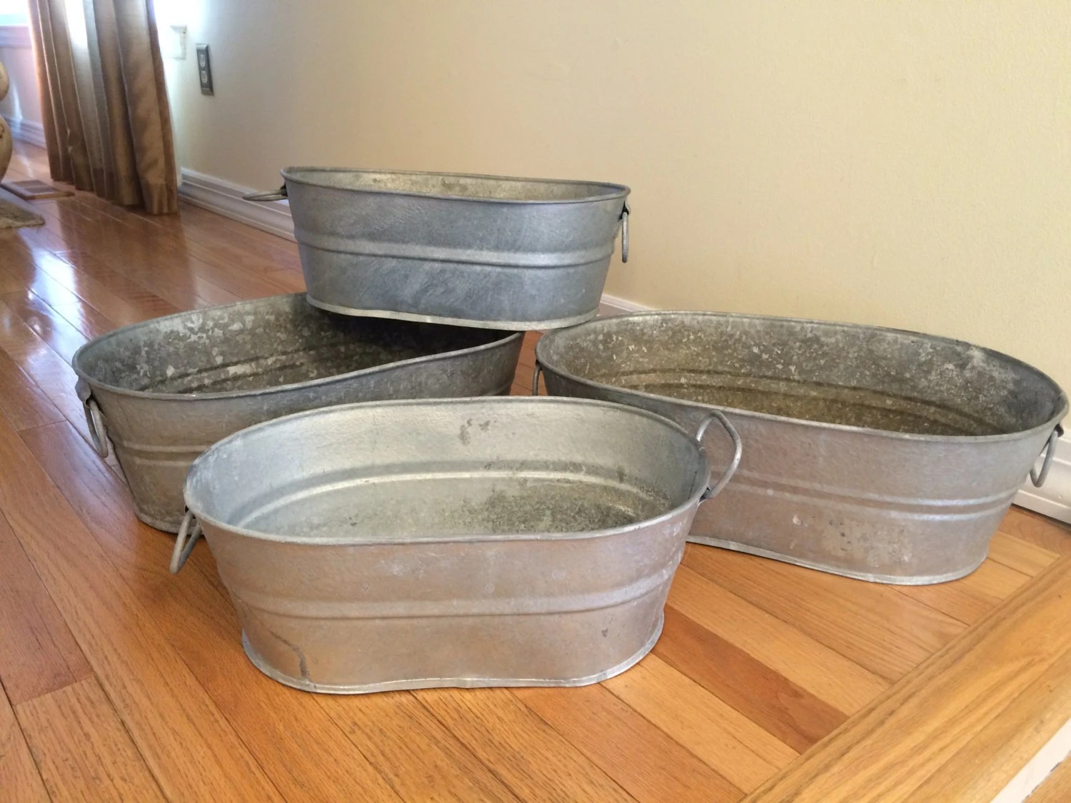 Vintage Galvanized Metal Oval Utility Tubs Planters