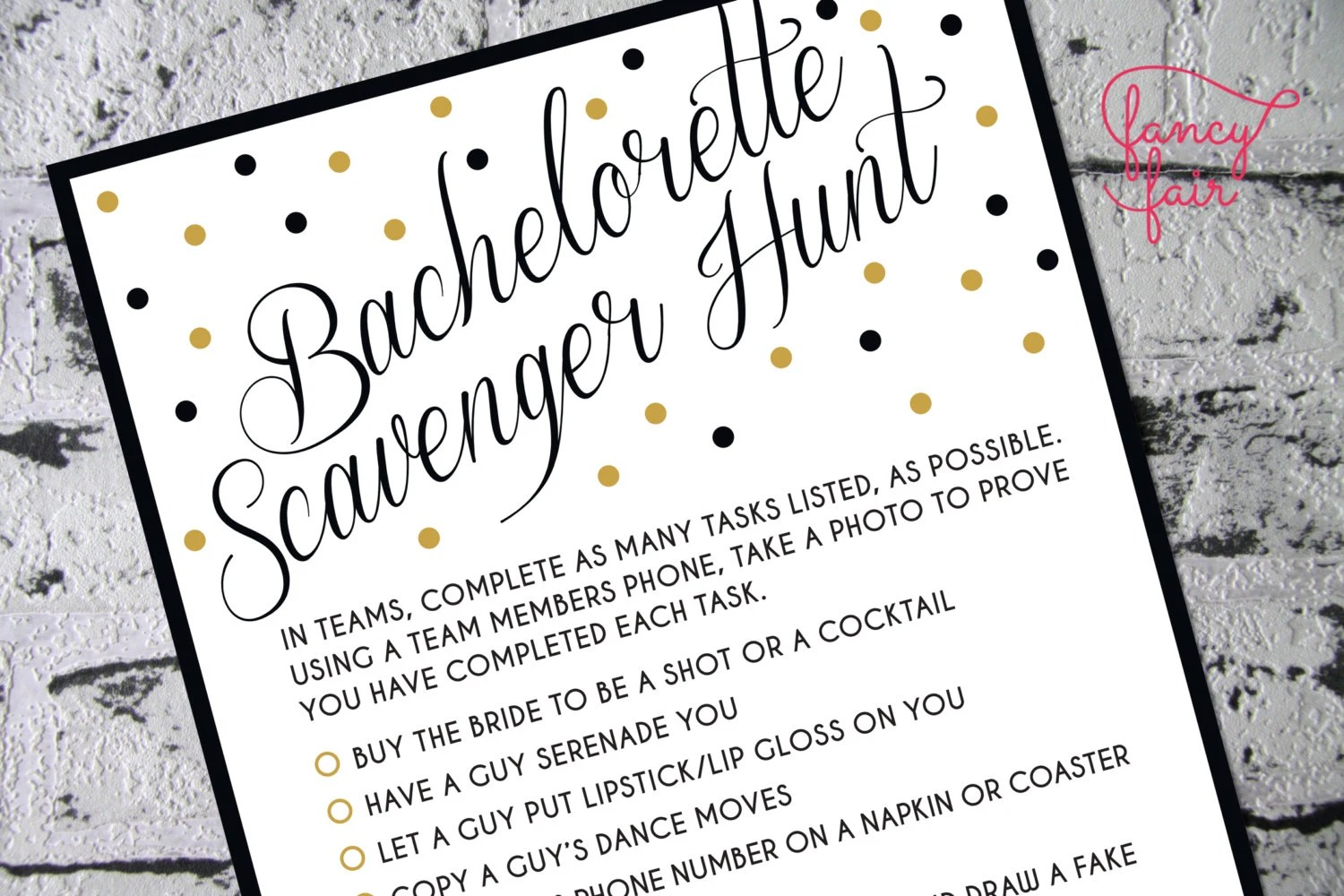 Fun Bachelorette Bingo Scavenger Hunt Game Instant Download