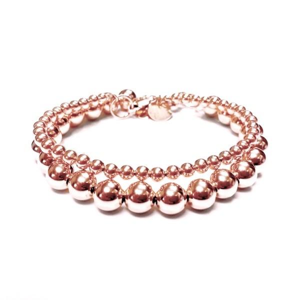 Set Of Two 2 Bead Bracelets In 14k Rose Gold Filled 4mm