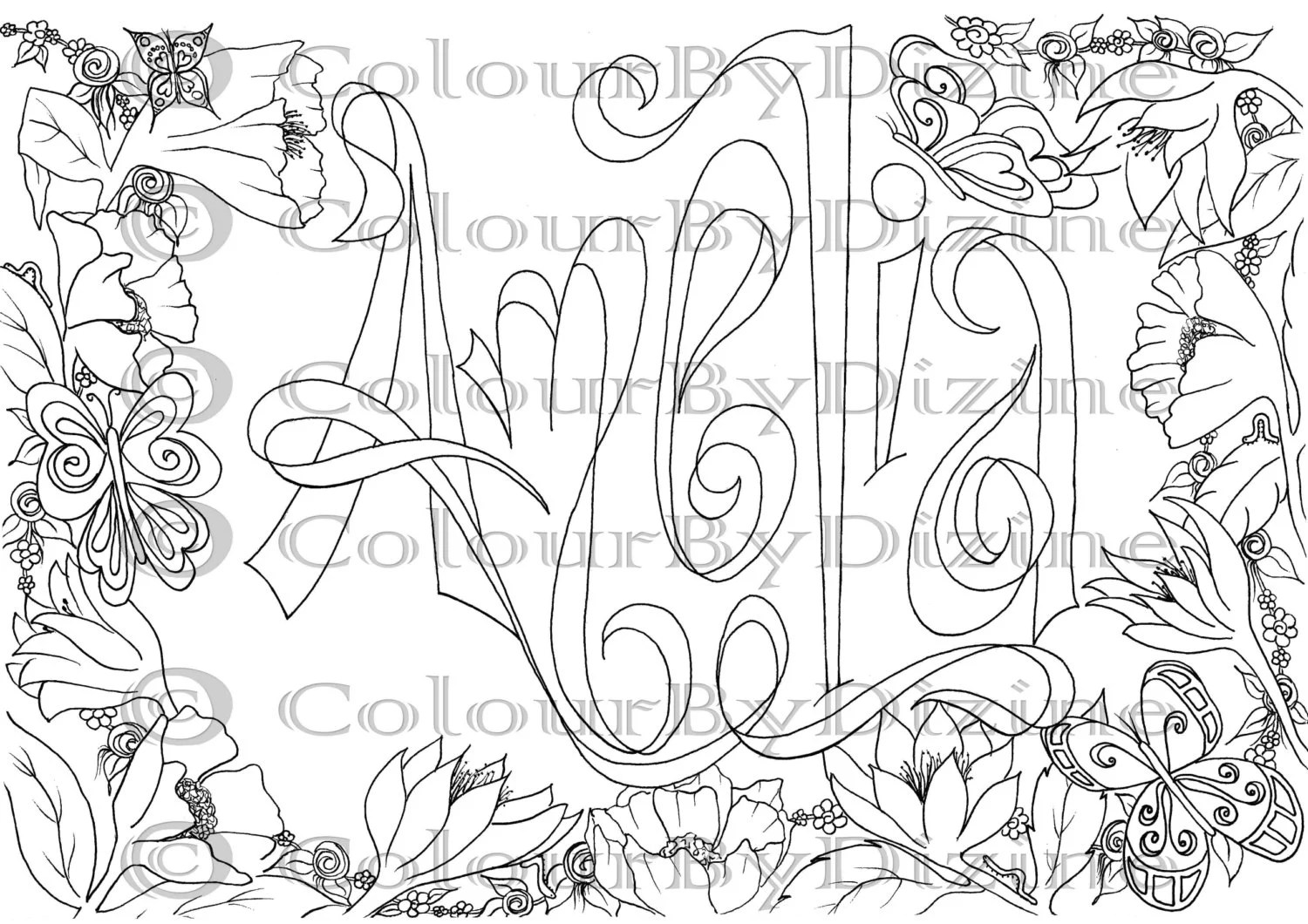 Coloring page girl's name 'Amelia' in flower by