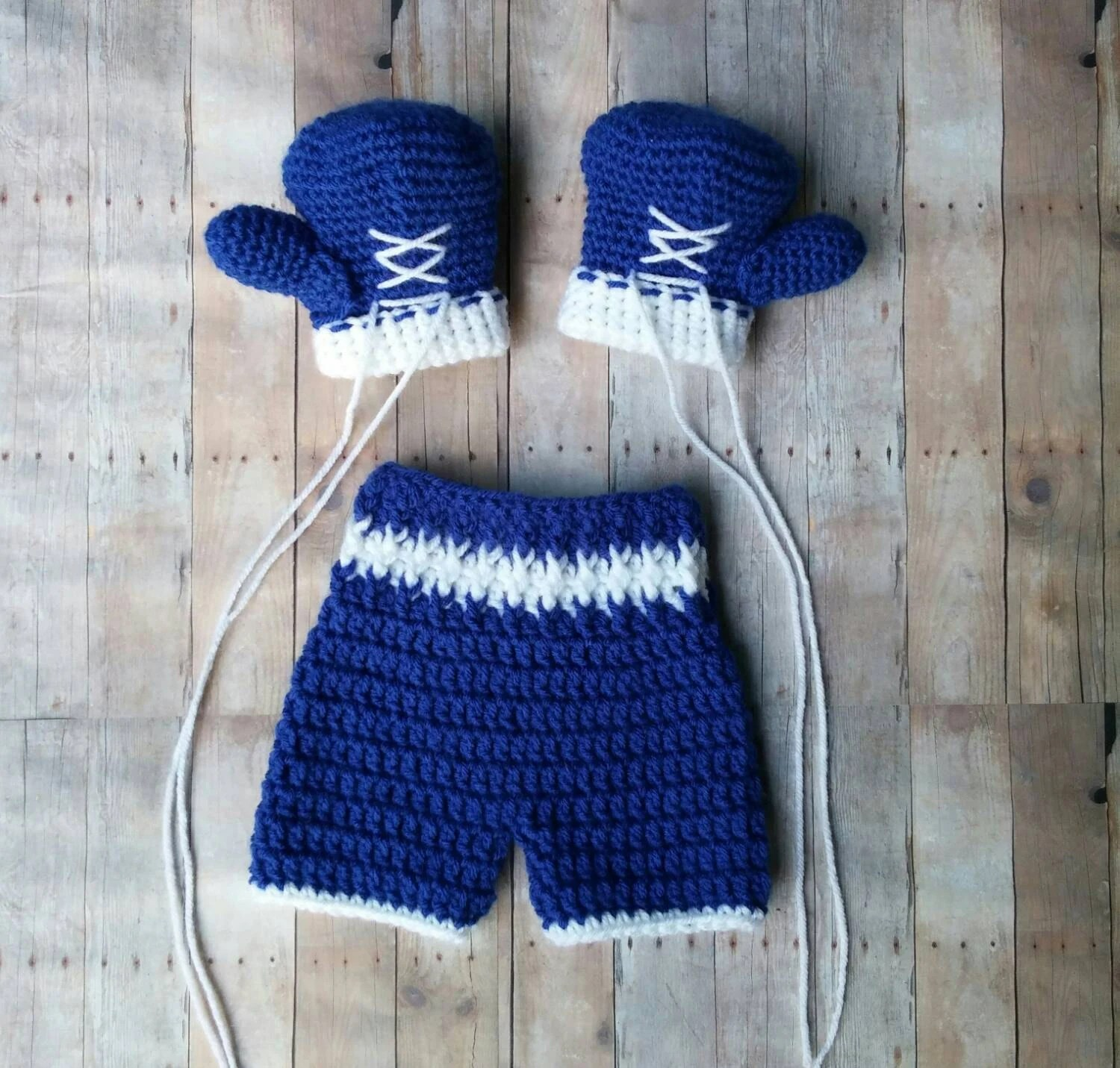 Crochet Baby Boxing set boxing gloves shorts baby