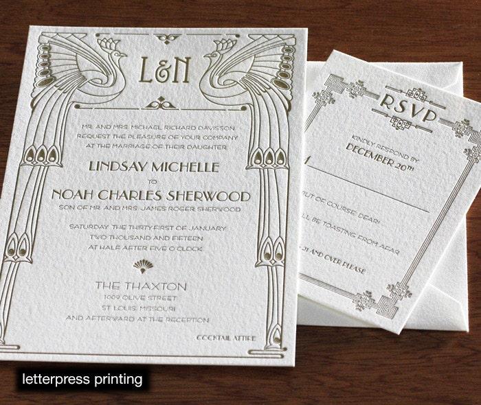 Chicago Letterpress or Digital Wedding Invitations Set of