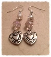 Valentine earrings valentine beaded earrings wire wrapped