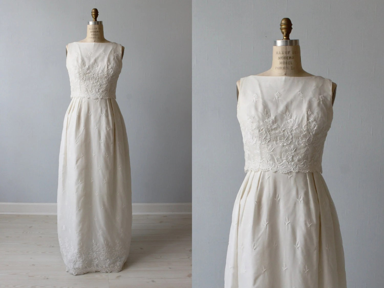 1960s Wedding Dress / Sheath Wedding Dress / By