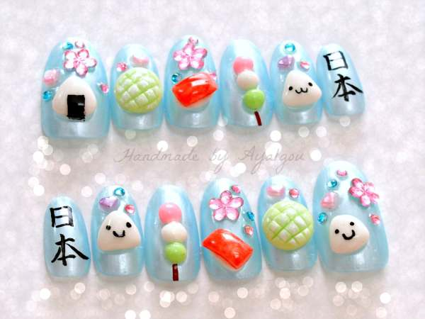 Nails Deco 3d Onigiri Kawaii Food Kanji