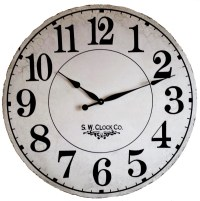 36 inch French Gallery Country Wall Clock Antique Style aged