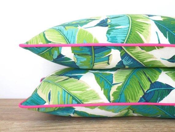 Tropical outdoor pillow cover, palm leaf pillow pink piping, green outdoor cushion palm tree, coastal cushion, pink outdoor pillow