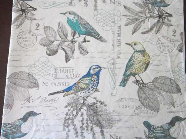 2.875 Yards Fabric Bird And Vintage Script Pattern