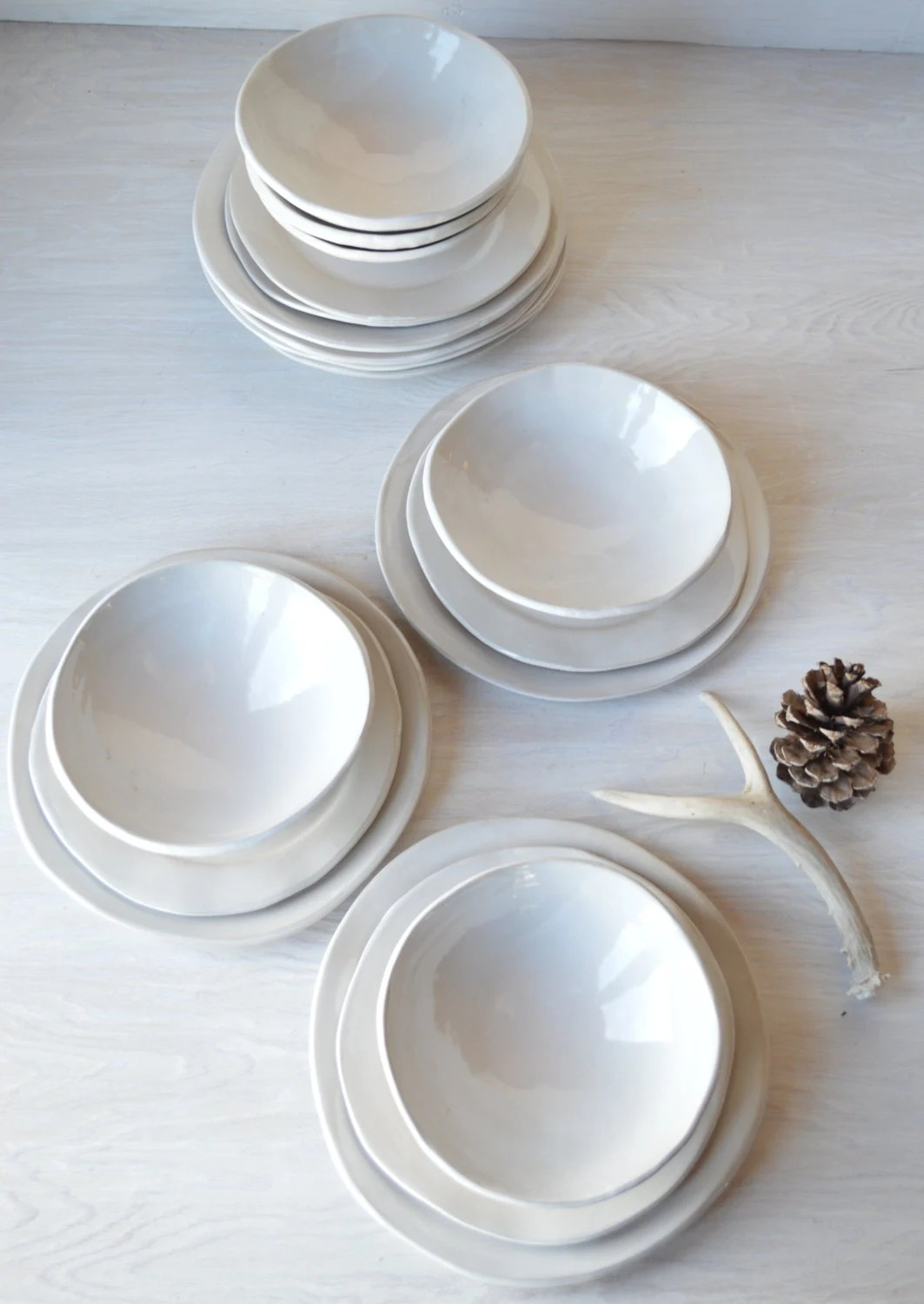 White Ceramic Dinnerware Set 12 Piece Setting Handmade