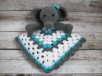 Ellie the Elephant Crochet Lovey Blanket by turnipsandparsnips