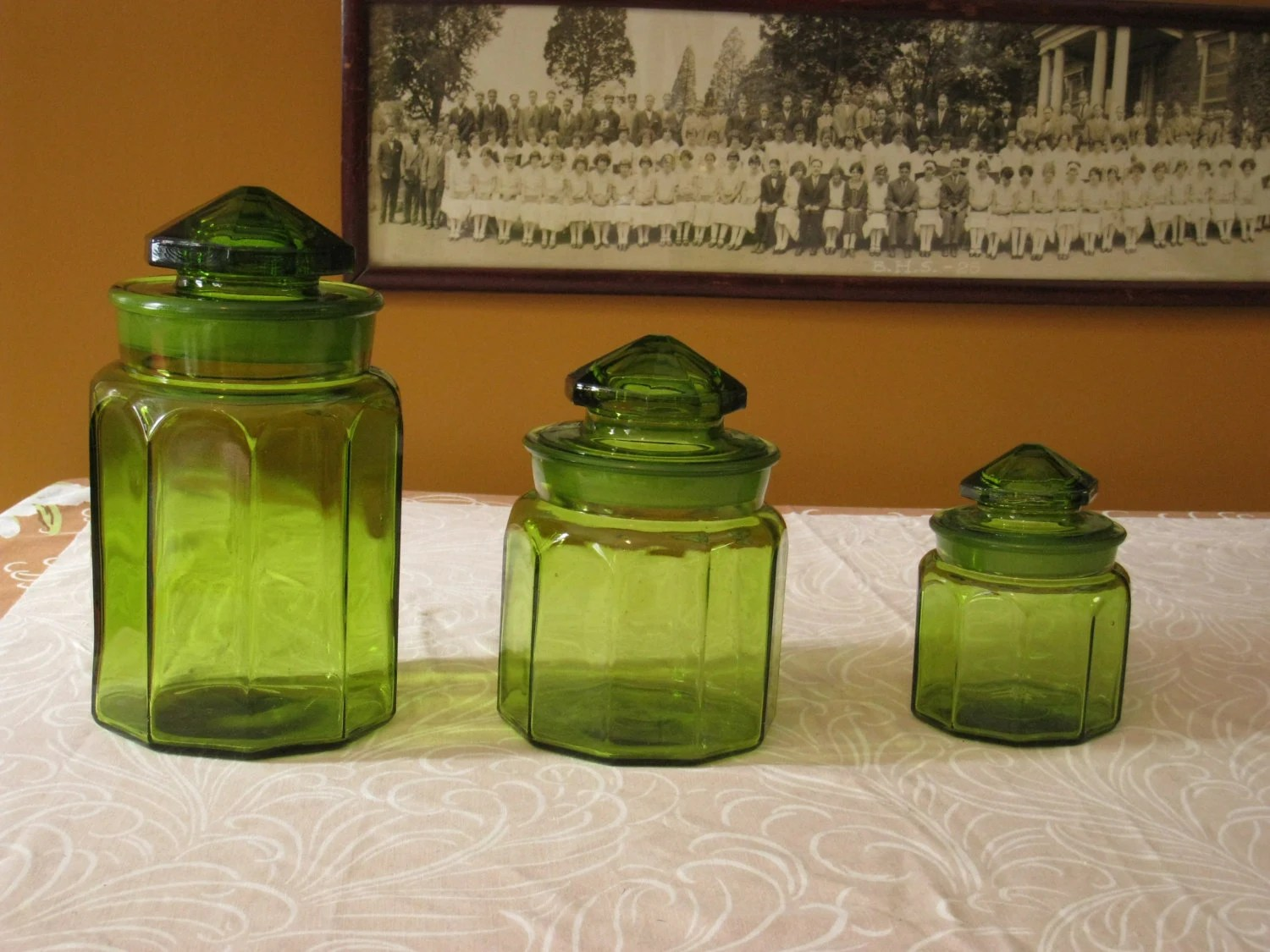 Emerald Glass Storage Jars Green Apothecary Containers Storage