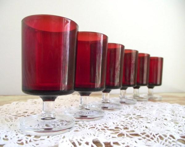 Luminarc Aperitif Glasses Set Of 6 Ruby Verrerie