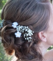 small white flower hair pins set