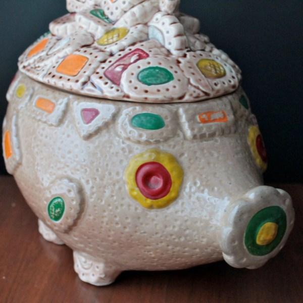 Pig Cookie Jar Vintage Japanese Ceramic Canister