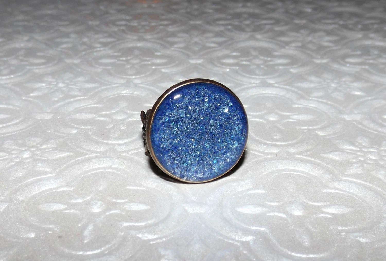 Blue Glitter Sand Stone Marble Ring By GlassByPriscilla On