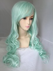 light mint green long curly layered