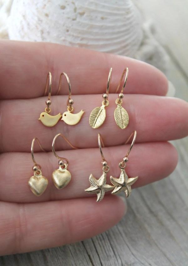Little Girls Earrings 14K Gold