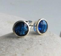 Dark Blue Topaz Stud- Round Blue Quartz Earring- London ...