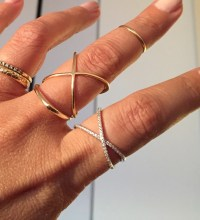 New Rose Gold X ring or silver X connector ring / X ring