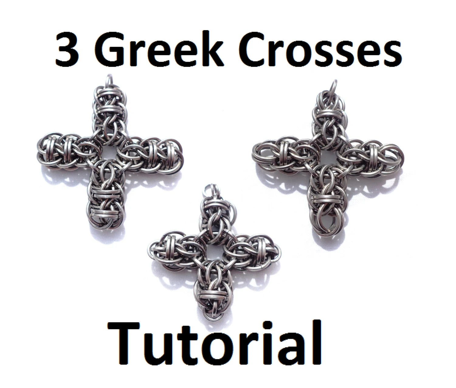 Tutorial for Celtic Cross Chain Maille Pendant in both square