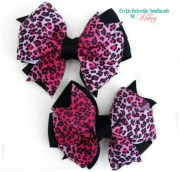 pink leopard print hair bow pigtail