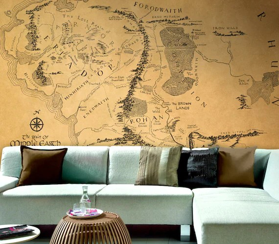 Ordinaire Hobbit Home Decor Wall Map Of Middle Earth The Lord Of The Rings Living Room