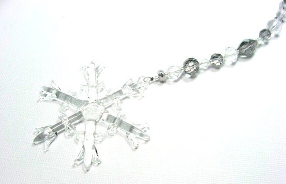 RESERVED FOR ROBIN Beaded Glass Snowflake by FoxysCrystals